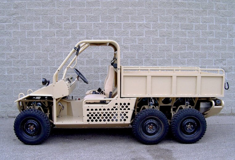 A prototype military vehicle on the road made by RCO Engineerings defense manufacturing services