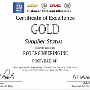 RCO Engineering awarded Gold Supplier Status!
