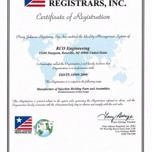 RCO's Plastics Division receives certification for ISO/TS 16949:2009