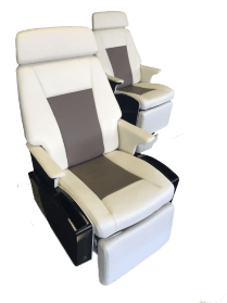 Two concept aerospace seats for the business jet seating market made by aerospace manufacturing services