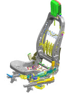 A computer generated design of an automotive seat made by automotive manufacturing services