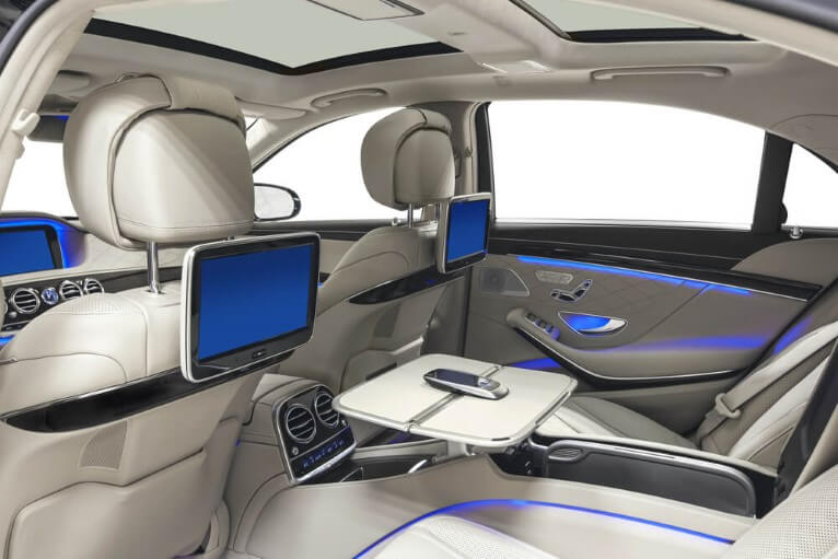 A high end automotive interior with in seat lighting made by automotive manufacturing services