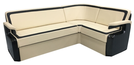 A custom L shaped divan for a business jet.