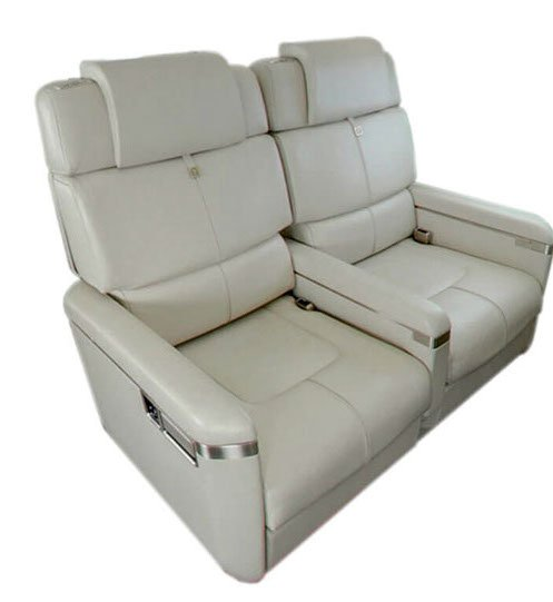 A double seat configuration for a business jet.