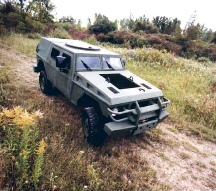 A concept military vehicle on a test drive.