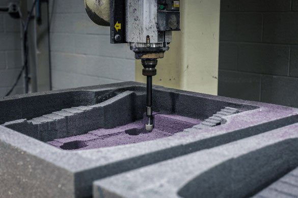 A CNC machine working on prototype foam