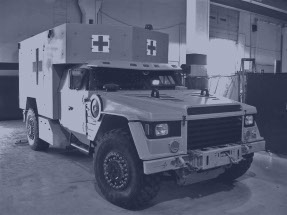 A full scale prototype of a defense industry ambulance made by rapid prototyping services