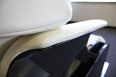 A concept aerospace seat with carbon fiber and leather made by aerospace manufacturing services